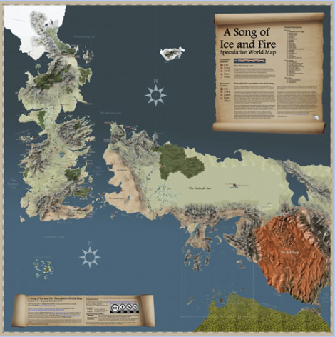 A Song of Ice and Fire Speculative World Map by The Mountain Goat and Tear